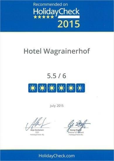 Hotel Wagrainerhof - Auszeichnungen - HolidayCheck 2015