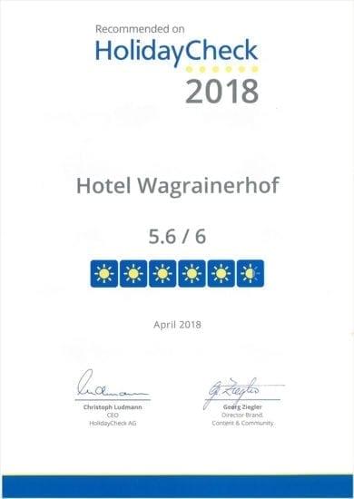 Hotel Wagrainerhof - Auszeichnungen - HolidayCheck 2018