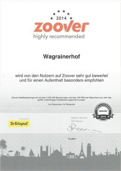 Hotel Wagrainerhof - Auszeichnungen - Zoover 2015